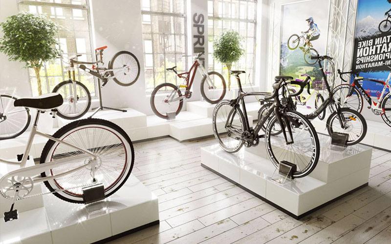 Fahrradpräsentation auf Podesten
